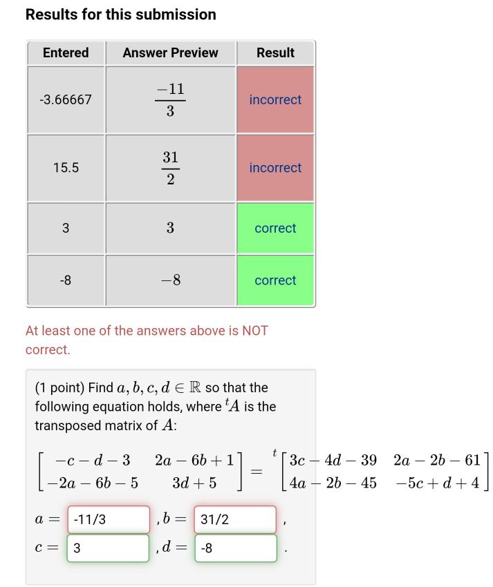 先ほど行列(一次連立方程式)が解けない者です 写真の 2a-6b+1=2a-2b-61 -2a-6b-5=4a-6b-45 が何度やっても出ません どなたか分かる方いらっしゃいますか