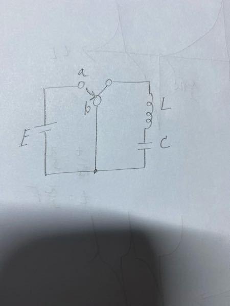 至急お願いしたいです。LC直列回路の問題です。 以下の回路をはじめにスイッチをaの方に倒して、充電させ、t=0でbに切り替えました。コンデンサに蓄えられる電荷q(t)と、閉回路を流れる電流i(t)を求めて下さいお願いします…
