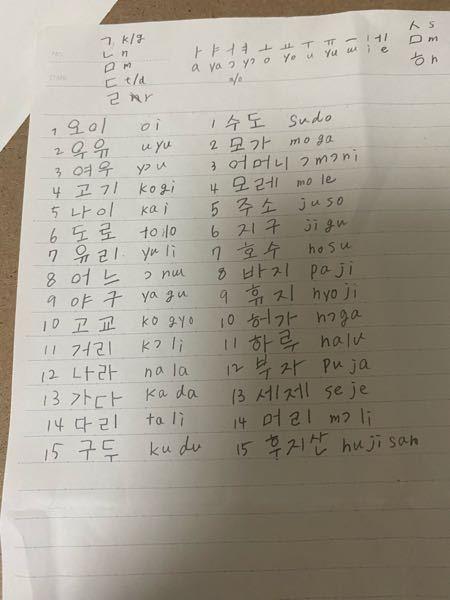 明日韓国語の発音の筆記の小テストがあるのですが例題の答えがなくて困っています。 このハングルの横に書かれた発音が合っているか全て教えて頂きたいです。よろしくお願いします