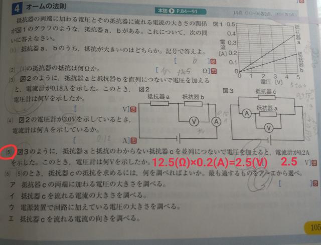 中学理科オームの法則の問題についてです。 (5)の式で使っている12.5(Ω)という値がどこから出たのか分かりません。わかる方いらっしゃいましたら、教えていただきたいです。 宜しくお願い致します。