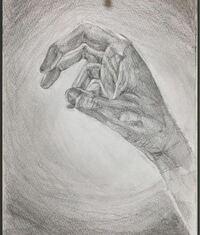 手のデッサンの評価をお願いします。 逆光に照らされた手を描きたかったのですが、色黒の手に見えてしまい、光と影をうまく表現する方法がわからずにいます。 どうすればもっと上手く描けるか教えてほしいです。  評価よろしくお願いします。