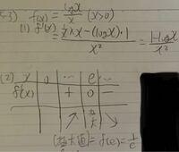 文字が汚くても申し訳ないのですが、この(2)の増減表のeの前後の符号の出し方がわかりません 命題は1番上のf(x)=log x/ x(x>0)です