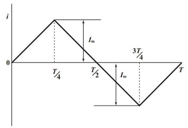 この電気回路の問題を教えてください。 画像の図のような三角波の実効値を求めよ。
