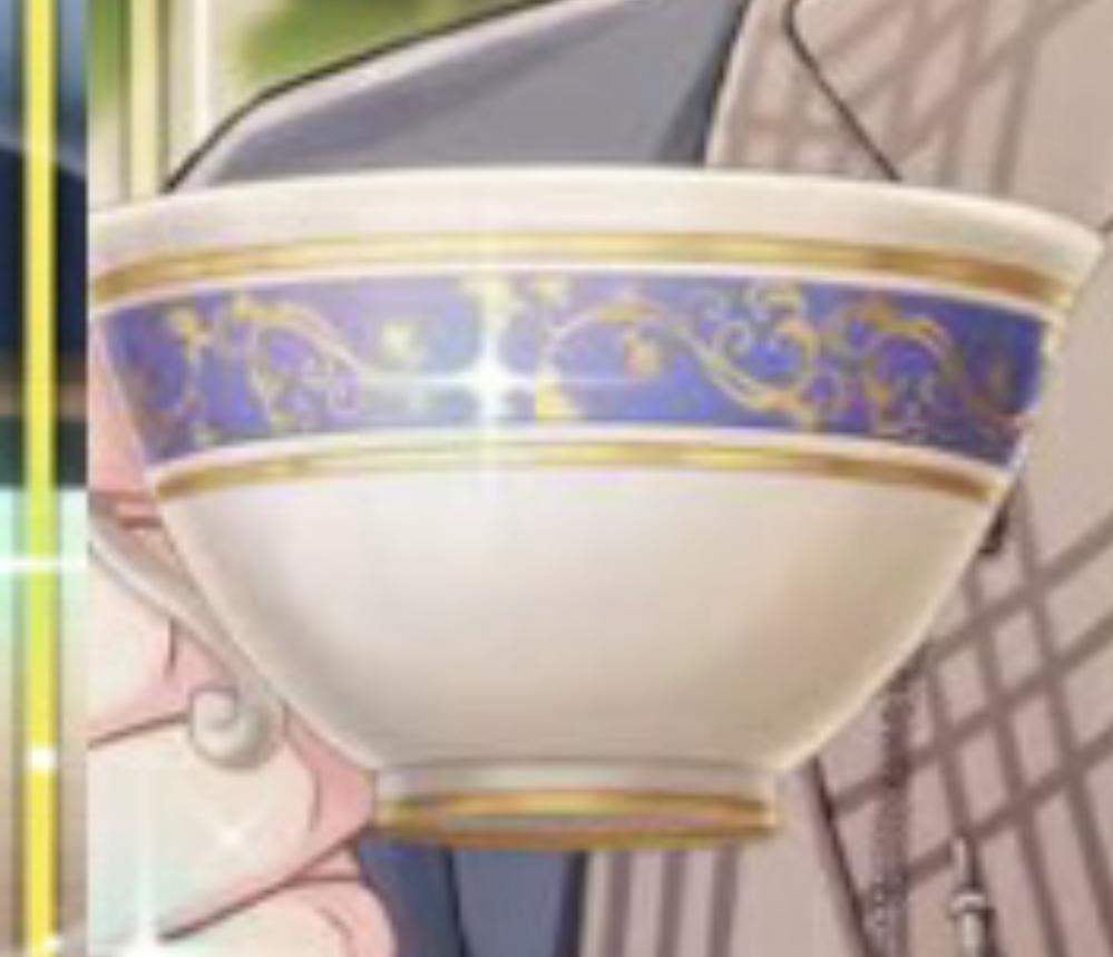 こちらのティーカップなのですが、ブランド(商品)がわかる方いませんでしょうか? ゲームのものなのですが、実際のものを参考にしているかと思われます。 宜しくお願いいたします。