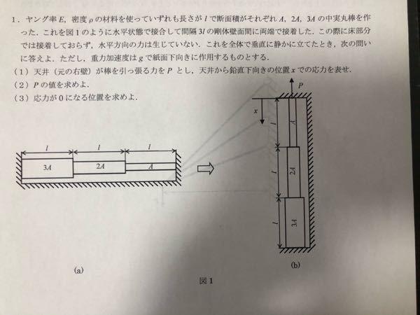 材料力学の自重を考慮した引張圧縮の問題です。 ⑴がわかりません。 どなたかお優しい方おりましたら教えていただけると幸いです。 よろしくお願い致します。