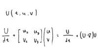 線形数学と流体力学で質問です。 非圧縮な一様流体のNS式の (U・∇)U はヤコビ行列で表せますか? ※ 2次元の流れの速度ベクトル=U(t,u,v) , ヤコビ行列=J x方向の流速=u, y方向の流速=v  確かヤコビアンは重積分で物理量の次元を変える時の体積比(または面積比) に相当するもので、ヤコビ行列J は傾きなど(マクローリン展開のn次)に相当する というのを聞いた気...