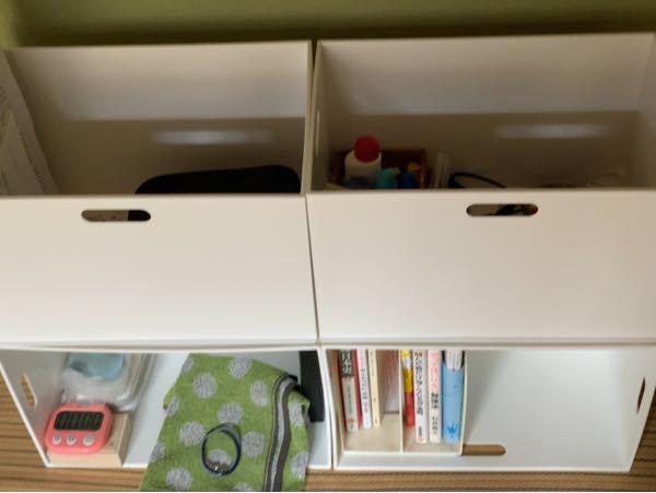 今日ニトリの収納ボックスを4つ揃えて収納してみましたこんな感じですがどのようにすればホコリなどを回避できて見た目もコンパクトになりますかねアドバイスください