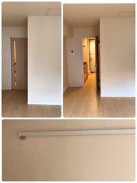 新居(賃貸マンション)の壁紙がほんのりと暖色系というか、オレンジがかった色なのですが、 家具やカーテンの色はどんなものがいいでしょうか? 理想はグレーや白でまとめた塩系インテリアだったのですが、ちょっとこの部屋だと温かみがありますよね…