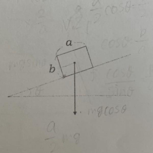 下の図のように、斜角θの斜面上に直方体の剛体がある。斜角θを徐々に大きくしていったところ、斜角がある角度θ1になったとき、物体は滑ることなく回転を始めた。物体の底辺1辺の長さをa、物体の高さをb、質量をmとす る。 (1)tanθ1を求めよ。 (2)この直方体と斜面との間の静止摩擦係数をμとする。μの条件を求めよ。 回答お願いします!!