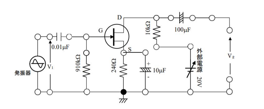 導出過程を求めなければならないのに全然分かりません.... 等価回路がどうなるのかから正確に分からないです... 助けてください。。。泣 図で示されているソース接地自己バイアル増幅回路の直流等価...