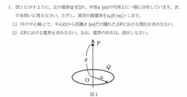電磁気(電界)についての問題です。 答えを教えてください