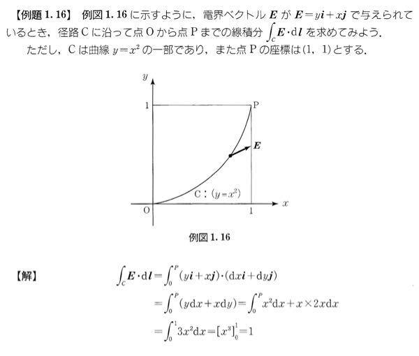 至急 この問題を教えてください。 例題は画像です。 例題 1.16 において、つぎの経路におけるEの周回積分を求めよ。 ただし、経路は O→P (y=x² 上), P→(0,1), (0,1)→O に戻るものとする。