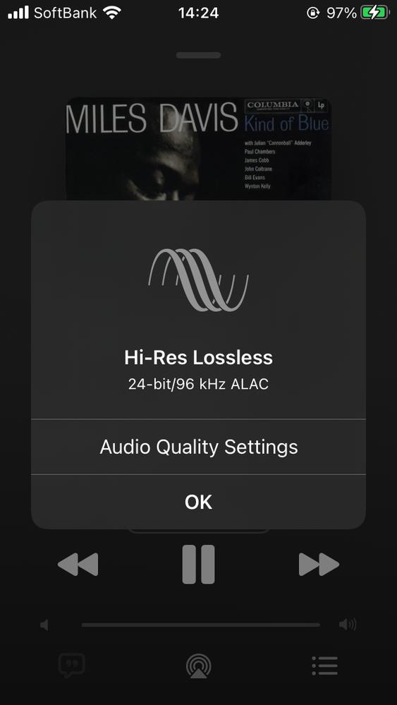 Apple Musicのハイレゾ・ロスレス・ストリーミングが始まりましたね。 当方では、 Apple iPhone SE Apple Lightning - USB 3 Camera Adapter FX-Audio FX-D03J RME ADI-2 DAC ... と繋いで、とりあえずハイレゾ再生ができています。 ところが、再生開始からしばらくして、曲が途中でスキップしてしまうエラーが出ました。 ダウンロードしないと安定して再生できないんですかね? あなたの環境ではちゃんと再生できていますか?