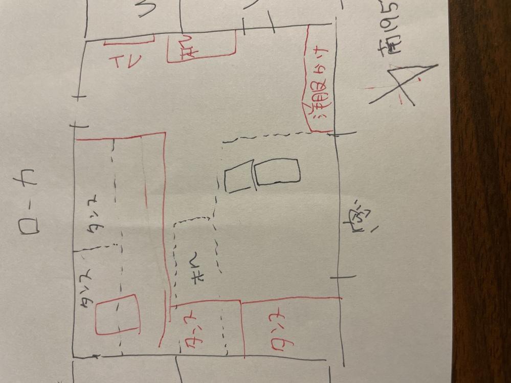寝室の配置です。 テレワークもあるのでも良い配置のアドバイス お願いします。 赤が希望 点線が現在です。 絵が下手ですみません。 風水的にもアドバイス欲しいです