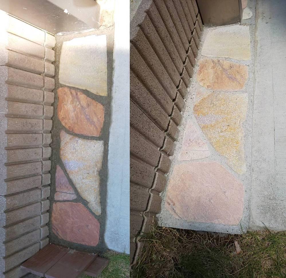 先日ジェラストーンを購入しDIYで庭にはりました。 購入して最初は全部白っぽいなと感じましたが、石を置いて、モルタルで目地を埋めて、スポンジで石をきれいに拭いたらきれいな石の色が出てきました。 しかし、一週間もすると購入時の白っぽい感じに戻りました。 写真左のような色を維持するのに何か良い方法はありますか? 宜しくお願いします。