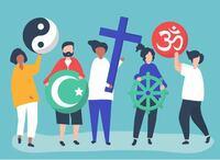 宗教についてです 学校の宿題で宗教についての宿題があるのですが、このイラスト画像はそれぞれ何の宗教を表すものなのかわかる方がいたら教えてほしいです! おねがいします!