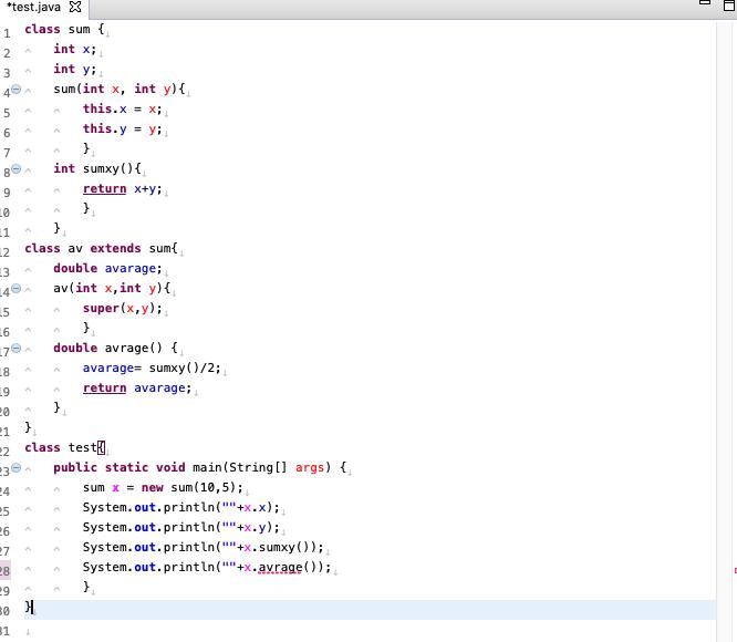 """java プログラミングでエラーが出てしまいます クラスの継承の部分です 参考書などを確認しましたが、 どこに問題があるのかわかりません 詳しい方よろしくお願いします class sum { int x; int y; sum(int x, int y){ this.x = x; this.y = y; } int sumxy(){ return x+y; } } class av extends sum{ double avarage; av(int x,int y){ super(x,y); } double avrage() { avarage= sumxy()/2; return avarage; } } class test{ public static void main(String[] args) { sum x = new sum(10,5); System.out.println(""""""""+x.x); System.out.println(""""""""+x.y); System.out.println(""""""""+x.sumxy()); System.out.println(""""""""+x.avrage()); } } エラー文 Exception in thread """"main"""" java.lang.Error: Unresolved compilation problem: メソッド avrage() は型 sum で未定義です at test.main(test.java:28)"""