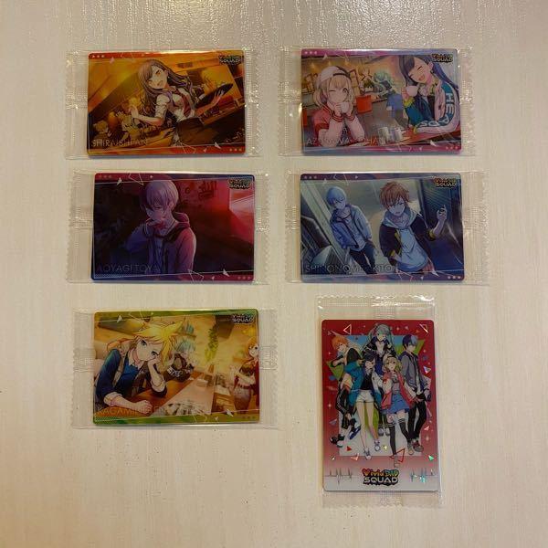 写真のプロセカのウエハースカードをメルカリで売りたいのですが、何円くらいで売れるでしょうか?できればまとめて売りたいです!