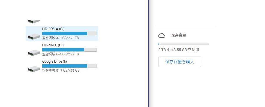 Google Driveの容量について教えてください。 今まで無料の15GBだけ利用しておりましたが、外付けHDDだけでは不安になったのでGoogle Drive(one)を2TBを契約しました。 ですがドライブの容量は少なくまた容量もWEB上とエクスプローラー上では表示がおかしいのですが、 グーグルドライブの分を2TBいっぱいまで使う事はできないのでしょうか。 何か制限や設定があったりするのでしょうか。 バックアップ以外で他の機能を利用する予定はあまりないと思います。 よろしくお願い致します。