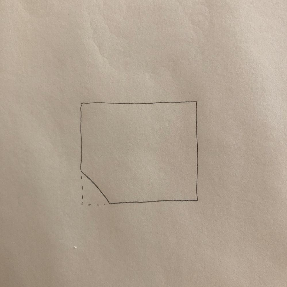 かぎ針編み 写真の形に編むにはどのように編んだら良いですか? 趣味でかぎ針編みをしています。 写真のように四角形の角を1箇所だけななめに落としたような形に編みたいのですが、どのように編んだらできますか? 細編みの往復編みで編もうと考えています。 詳しい方、教えてください!