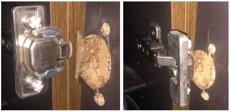 下駄箱の扉の修理は自力で出来ますか? 写真のように器具が、扉から外れてしまいました。 木製扉の上下のねじが入っていた穴が広がってしまっています。 何かで埋めるとか対処方法はありますでしょうか? 教えてください。