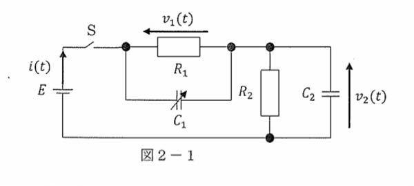 回路方程式について 図のようなRとCの回路のiに関する微分方程式を教えてください。