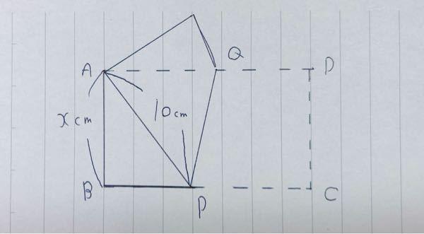 長方形ABCDを右図のように頂点Cが頂点Aに重なるように線分PQを折り目として折った。このときxの値を求めよ。 よろしくお願いします。