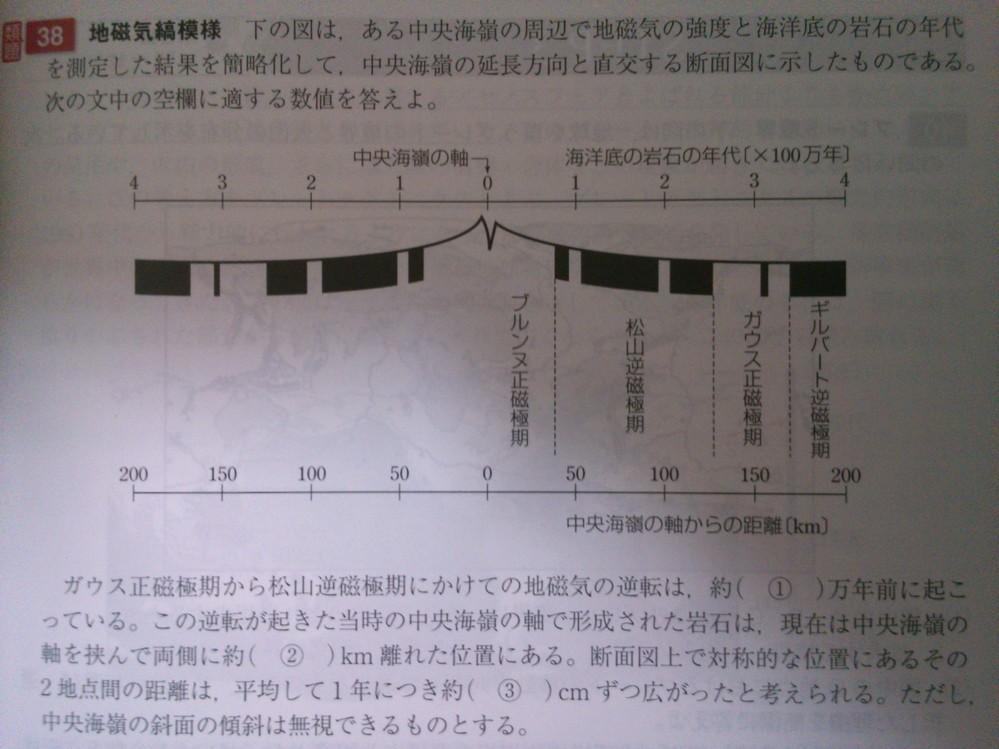 ①が何故そうなるか分かりませんでした。松山逆磁極期に2回の地磁気の逆転、ガウス正磁極期に1回の地磁気の逆転があるのは分かりました。 また②も何故そうなるのか分かりませんでした。答えは①、②とも250です。