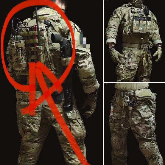 こちらのキャリアプレートの背面には何が装備されていますか?詳細を教えてください。 PRC152は確認できます。そのほかが分かりません、 軽装ですね。