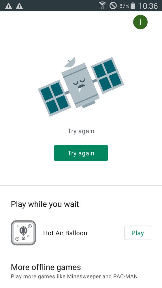 google play が使えなくなってしまいました。添付の画像の画面が表示されます。 どうしたらいいか教えてください。