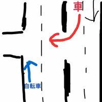 自転車を車道で走ってて、反対車線から曲がろうとする車がいた場合、ルール的に自分はそのまま走った方がいいのか、スピードを落として譲らないといけないのですか?こう言った場合は自転車優先になるんですか?一応 状況をイラストに書きました。