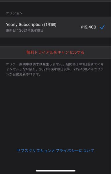 appStore でプランを組んでいます。 19400円/年は月ごとの支払いですか?