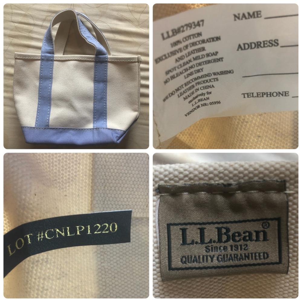 L.L.Beanというブランドのトートバッグが、偽物か本物か知りたいです。 公式サイトを見ても、スカイミントという色はありましたがこのラベンダー色っぽいものは無いように思えました。 また、公式サイトに売られているミニサイズのトートバッグのタグには、「boat and tote」という文字がありましたが、このカバンのタグには書いていません。 頂き物です。これは本物でしょうか? 詳しい方ぜひよろしくお願いします。