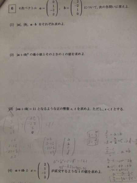 (3)の答えはs=1,t=4です。 解答がわからないので教えてください