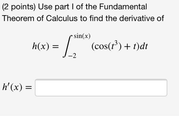 積分の微分の問題です。tの部分のsin(x)にすればいいと思ってたのですが、間違っていたので教えてください。