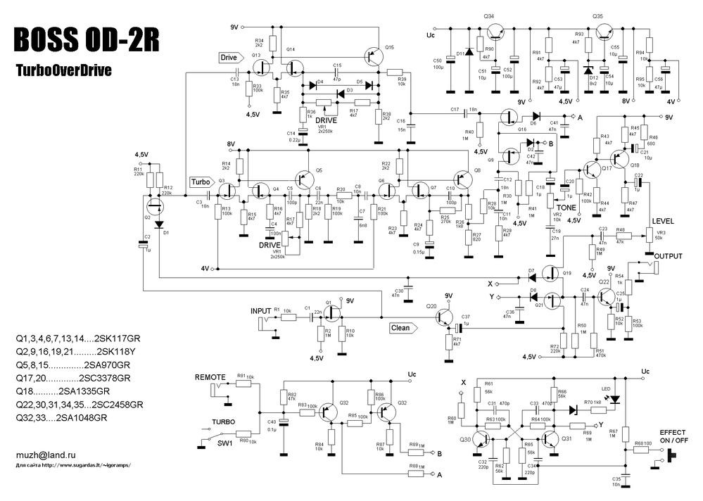 BOSSのエフェクターOD-2Rの回路についての質問です。 入力バッファの後ろのバイパスライン上にあるバッファ回路(トランジスタQ20のところ)はどういう意図で存在していますか?無くても問題なくありませんか? 回路の画像はこちらのサイトから https://www.freestompboxes.org/viewtopic.php?t=30310