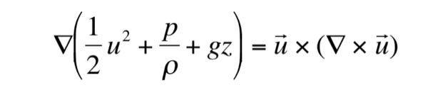 流体力学についてです。この式の右辺に関して、流速ベクトル(u)と渦度ベクトル(∇×u)の外積となっているのですが、これが流速ベクトルに平行な成分を持っていないことを示したいです。 どのようにすればいいのでしょうか。