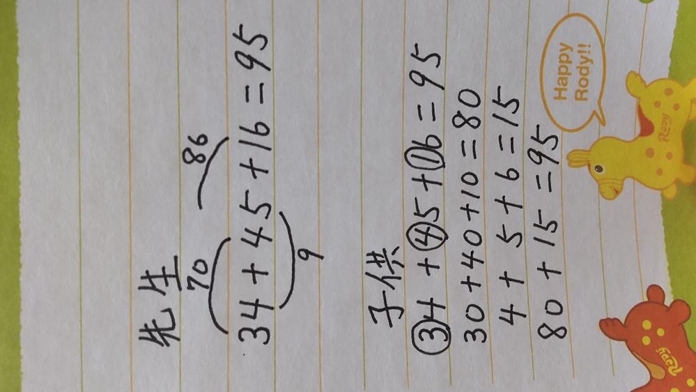 小学校2年生の算数の問題について 今日子供が怒りながら帰ってきたため理由を聞くと、算数のテストで納得いかないことがあったと言うのです。 その問題が[工夫して計算しましょう]というもので答えは合っているのに、式が教えたのと違うからと☓をつけられ、そのせいで100点にならなかったとのことでした。 答案を見るとたしかに答えは合っていますが☓になっていて、先生の字で) [こんなこと教えていません]と書かれていました。 簡単に先生が教えたことと子供が考えたことがどう違うのか、例えを写真で添付したのでご覧いただければと思います。 子供が言うには、「自分なりにわかる方法を考え工夫して計算したのに、なんでバツなのかわからない。」と言っていました。 子供はこの問題を解く際わからないと連呼しており、先生のやり方だとどことどこを足せばいいかわからなくなり、答えを間違えてばかりでした。 なので私が何気なく「10の位は10の位で計算するとわかりやすいのにね。」と言ったことがヒントになったようで、このように解いたら間違えなくなったようです。 先生の言い分もわからなくはないのですが、「工夫して計算しましょう。」が問題なので○でも良かったのではと親心で思ってしまいます。 やはり教科書通りでないとだめでしょうか? また子供には納得のいく説明をすることができず、「悔しかったね」としか言えなかったのですが、子供になんと言えばよかったのでしょうか。 ご回答よろしくお願い致します。