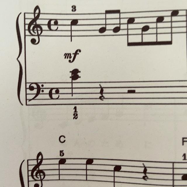 このヘ音記号の音符はどの鍵盤になりますか?