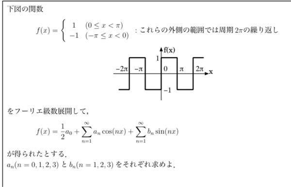 フーリエ級数の問題です。調べたのですがわかりませんでした。途中式も含めて教えてください。お願いします。