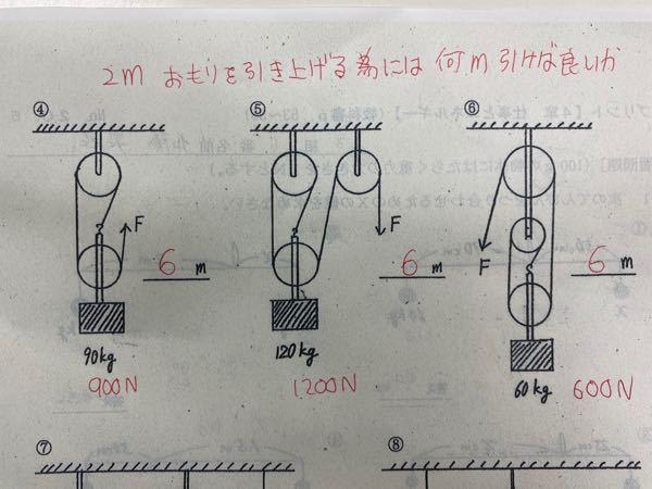 中3理科の問題です。 赤字が答えですが、なぜその数字になるか 教えて下さい。 重りを2メートル上に吊り上げるにはFの部分を何メートル引けばよいのか?という問題です。 全て答えが6メートルになります。 なぜこうなるのが、教えて下さい。