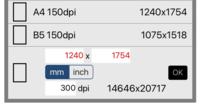 アイビスペイントでA4サイズ、300dpiのイラストを描きたいのですが、もともと設定されているA4のサイズを打ち込んでみたら下の写真のように赤くなってしまいました。何mmにすべきなのでしょうか…