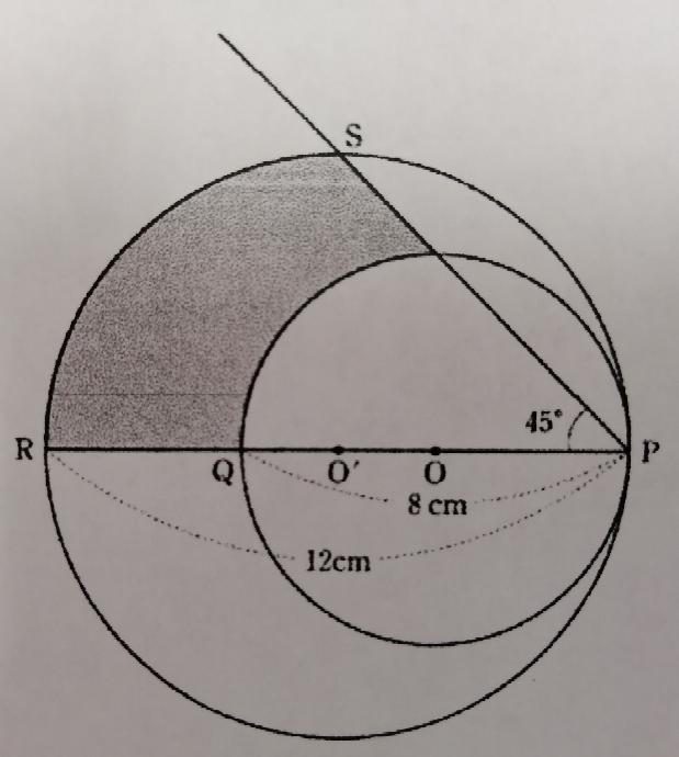 わかる方いらっしゃいましたら解説お願いします。 写真図の用に、2点O、O'を中心とする2つの円がある。円Oの直径は8cm、円O'の直径は12cmである。2つの円は、点Pで内接し、直線OO'と円O、円O'の交点をそれぞれ点Q、点Rとする。また、円O'の円周上に∠SPR=45°となるような点Sをとる。このときの網掛け部分の面積を求めよ。円周率は3.14とする。