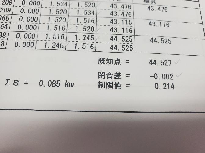 測量の高低点検計算書についてです この制限値の出し方を知りたいのですが、準則に従って電卓を叩いてもこの数値が出てこないのですが、叩き方が間違ってるのでしょうか