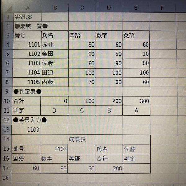 E17にHLOOKUP関数を入力し、合計の値に対応する判定を表示したいのですが、式がわかりません。 教えてください。