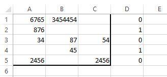 """エクセルに関して質問させて下さい。 3列の中(A:C)で、いずれかのセルに数字が1つだけ入ってるものをD列に""""1""""と、A:Cの中で2セル以上数字が入っているものを""""0""""としたいのですが、どうすればいいでしょうか?"""