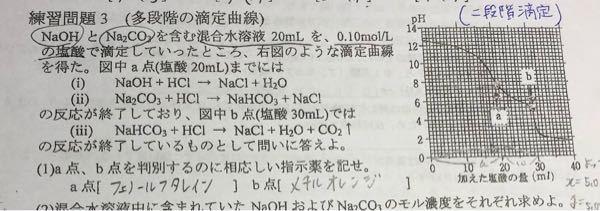 化学、二段階滴定の問題です!! 解いたら⑵はどちらも0.050mol/Lとでたのですが、当たっていますか?