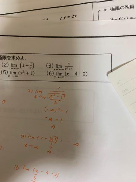 関数の極限 数3 (6)の解き方を教えてください! 自分はt=-xとおいてt=∞という形にして解いていったのですが解答と合わなかったので質問しました。