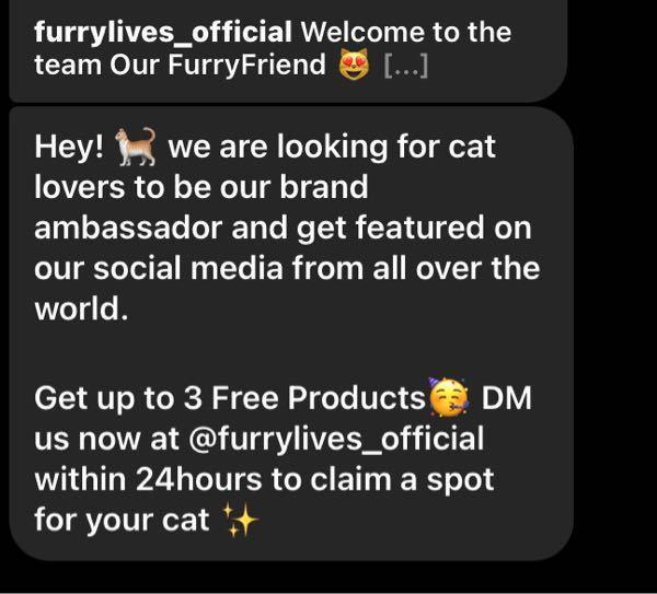 ウチの猫をInstagramに載せてるのですが、海外の方からこんなDMが届きました。(画像) 私は英語は出来ないので、翻訳してみたら無料製品を渡します。なので猫のいる場所を24時間以内に要するみたいな内容でした。 猫用のものが売られてるショップらしいです。 こういうのってよくある事ですか? このお店のアカウントからじゃなくて、フォロワーも投稿数も0の外国人からDMが来ました。 わかる方いたら、教えてください。