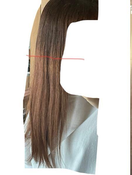 髪色について質問です 縮毛矯正有りブリーチなしで染めた髪です 細い赤い線から上は一回染めた髪でそれより下が2回染めた髪です ダメージが気になるので最近はリタッチだけしていました もう少し暗い髪色にしたいのですが 全頭染めて色落ちでもっと明るい色になるのが嫌です 今の状態でブラウン系の色を入れても色落ちしたら今より明るくなりますよね? それならリタッチを続けて一回だけ染めた部分を伸ばした方がダメージも抑えられて確実に暗くなりますかね?